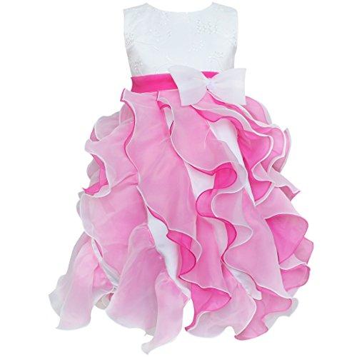 TIAOBU US Girls Bow Flower Tulle Formal Wedding Dress Hot Pink Size 5-6
