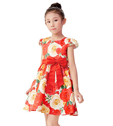 Dresses Summer Girls Vintage Dress Sleeveless Size 6 Casual Dress Baby Girl Dress Girls Dress 5-6 (Red Rose, 6)
