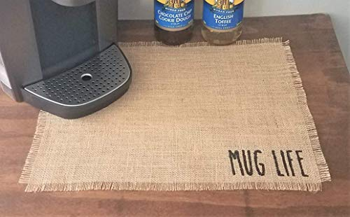 (Mug Life Rae Dunn Inspired Coffee Bar Placemat, Place Mat For Coffee Machine, Mat For Coffee Maker, Farmhouse Coffee Station Decor, Coffee Lovers Gift, Burlap Coffee Placemat)