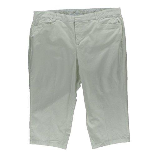 JM Collection Womens Plus Tummy Control Comfort Waist Capri Pants White - Business Capri
