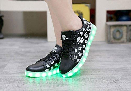 7 Unisex Leuchtend Sneaker Damen Dayiss LED Aufladen Erwachsene Turnschuhe Partyschuhe Sportschuhe Farbe Schwarz Totenkopf Herren USB für g7YUqCdW