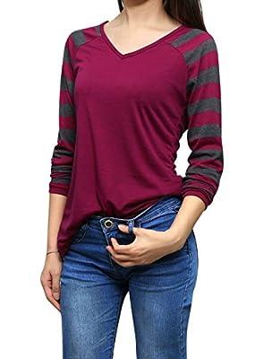 Allegra K Woman Striped Long Raglan Sleeves V Neck Tee Shirt
