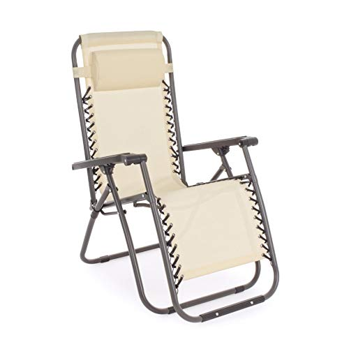 Set 2 sedie Pieghevoli Giardino in Acciaio e Textilene Beige | Bakaji