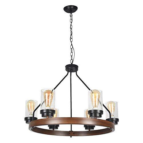 Baiwaiz Round Farmhouse Chandelier in Faux Wood and Rusty Metal Finish, Metal Rustic Pendant Chandelier Lighting with Clear Seeded Glass Shade Living Room Chandelier 6 Lights Edison E26 092