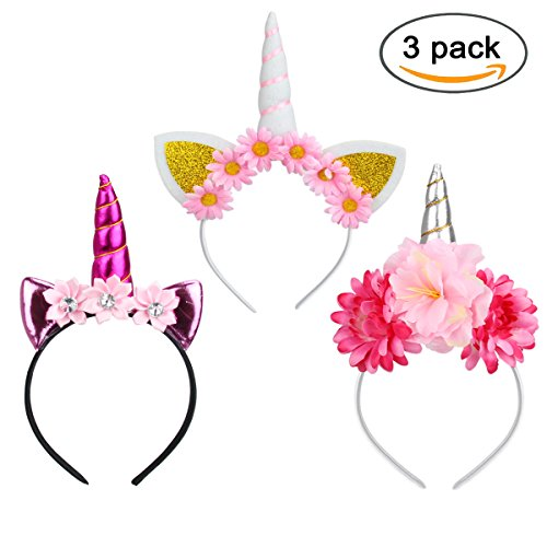 Make Your Own Cute Costumes Halloween (Unicorn Horn Headbands with Glitter Ears and Flowers Set of 3pcs for Girls - (Silver))
