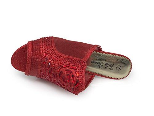 Enzo Romeo Jade01 Da Donna Classico Elegante Sandali Con Tacco Basso Sandali Strass Piattaforma Di Partito Di Nozze Open Toe Scarpe Con Zeppa Rosso