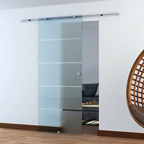 Homcom® Glasschiebetür Schiebetür Glastür Zimmertür teilsatiniert 775 / 900 / 1025 x 2050 mm (Modell1/ 900 x 2050 mm)