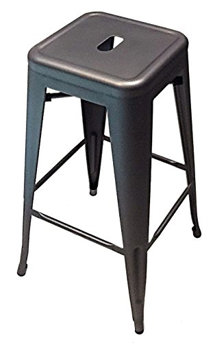 ATC Manhattan Powder-Coated Steel Barstool, Gun Metal (Pack of 4)