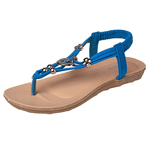 ZAMME Women's Girls Summer Open Toe Rhinestone Flip Flops Sandal Thongs Blue gVG0lGty