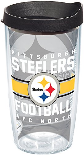(Tervis 1180578 NFL Pittsburgh Steelers Gridiron Tumbler with Wrap and Black Lid 16oz, Clear)