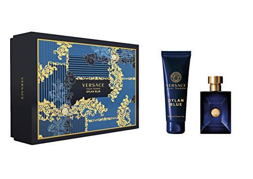 Versace Dylan Blue for Men 2 Pieces Hard Box Set 3.4 Ounce Eau De Toilette Spray 5.0 Perfumed Body Shower Gel