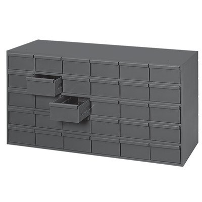 Durham 014-95 Gray Cold Rolled Steel Storage Cabinet, 33-3/4'' Width x 17-3/4'' Height x 11-5/8'' Depth, 30 Drawer by Durham