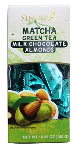 Sincero Matcha Green Tea Premium Chocolate Almonds 30 pcs/6.35 oz (Milk Chocolate)