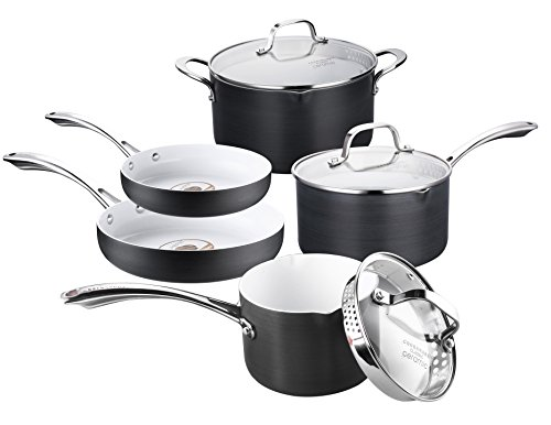 Cooksmark 8-Piece White Ceramic Nonstick Pots and Pans Set, Cookware Set with Scratch Resistant Hard Anodized Exterior and White Ceramic coating, No PFOA Oven Safe by COOKSMARK