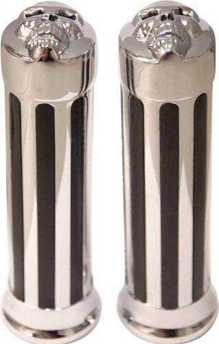 Yana Shiki GRP080 Chrome Skull End Design Metric Cruiser (Metric Motorcycle Grips)