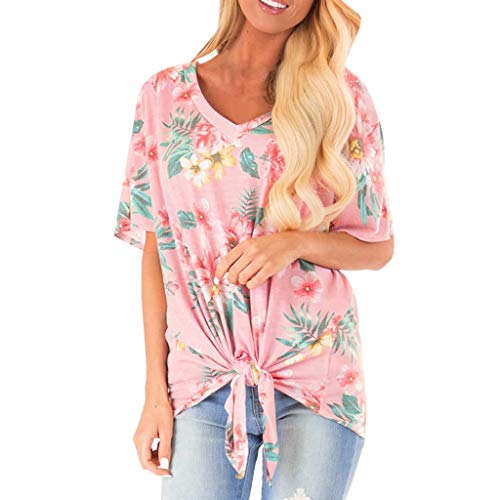 (Lovor Women's Tops Floral Print V Neck Short Sleeve Ruched Twist Knot Loose Casual Blouse Shirts(Pink 1,L)