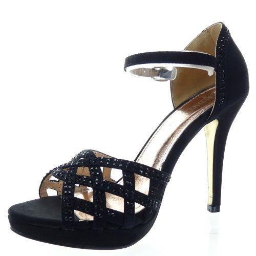 Kickly - damen Mode Schuhe Pumpe Sandalen Strass Schuhabsatz Stiletto - Schwarz T 41 - UK 8