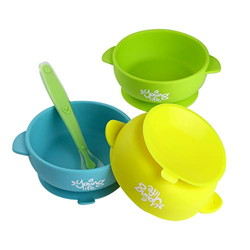 Silicone Baby Bowl (Pack of 3) & 1 Soft Spoon - Spill Proof Feeding Bowl with Suction Cup Base - BPA Free & Nontoxic Snack Container for Toddlers - Perfect Baby Shower Gift Set