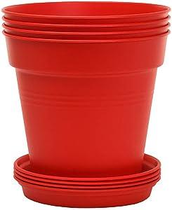 Mintra Home Garden Pots 4pk (Red, 13cm Diameter (5in))