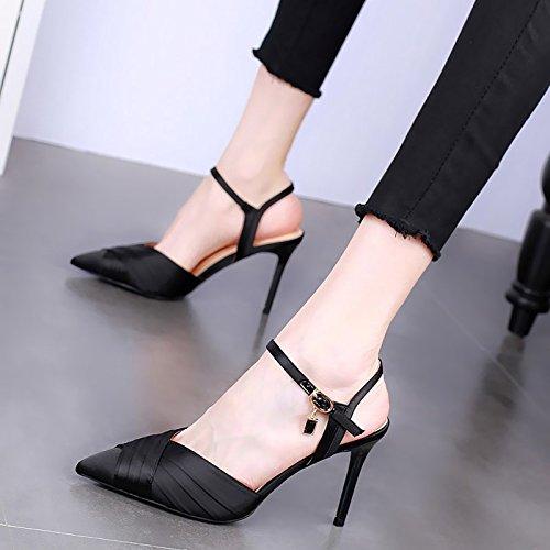 KPHY-9 Cm Zapatos De Tacon Alto Delgado Señaló Tacones Sandalias Verano Sexy Una Palabra Hebilla Diamante Silvestre Zapatos De Princesa. black