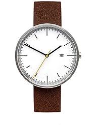 BIJOUONE B202 Minimalist Mens white Dial Stainless Steel Swiss Quartz Analog Calendar Brown Leather Watch