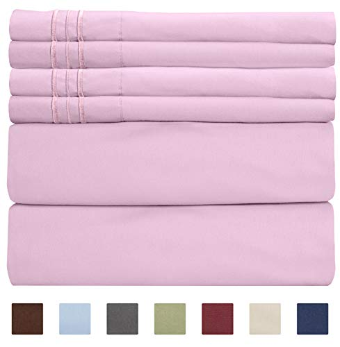 Queen Size Sheet Set - 6 Piece Set - Hotel Luxury Bed Sheets - Extra Soft - Deep Pockets - Easy Fit - Breathable & Cooling Sheets - Wrinkle Free - Comfy - Light Pink Bed Sheets - Queens Sheets - 6 PC (Damask Pink Set Comforter Queen)
