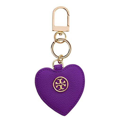 Tory Burch Leather Key Fob Heart Chain TB Logo (Purple Iris) by Tory Burch