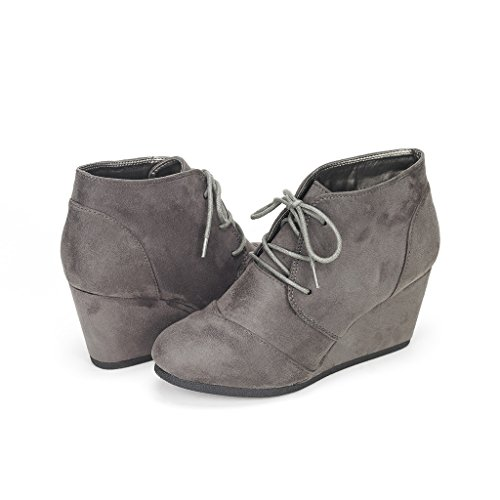 DREAM PAIRS TOMSON Women's Casual Fashion Outdoor Lace Up Low Wedge Heel Booties Shoes   grey 12 B(M) US