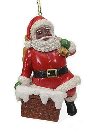 (Black Santa Going Down The Chimney Ornament [C7606B])