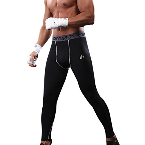 Price comparison product image Livoty Mens Gym Sport Thermal Tight Compression Base Layer Pants Long Leggings Trousers (XL, Black)