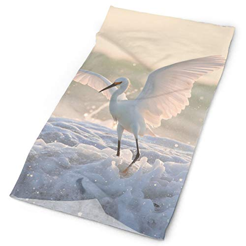 Egret Foam Waterfowl Wings Unisex Fashion Quick-Drying Microfiber Headdress Outdoor Magic Scarf Neck Neck Scarf Hooded Scarf Super Soft Handle ()