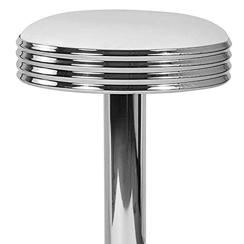 Modern Classic Design Metal Dining Round Backless Barstools Extra Wide Quadruple Base Lounge Diner Restaurant Commercial Seats Home Office Furniture - (1) White Vinyl Seat #2203 by KLS14 (Image #1)