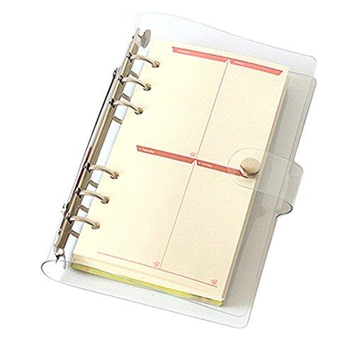 Ozzptuu Transparent PVC 6-Hole Ring Binder Cover Fresh Hand Books Snap Button Closure Round Ring Binders No Loose-Leaf Inner Core (A6) Leaf Zipper Closure Binder Organizer