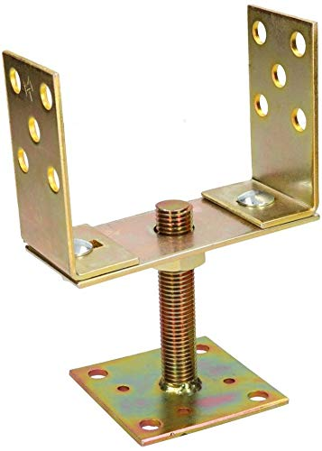 piastra dorata zincata base di sostegno KOTARBAU Supporto per palo a U da avvitare palo per pavimento regolabile in altezza 120-160 mm