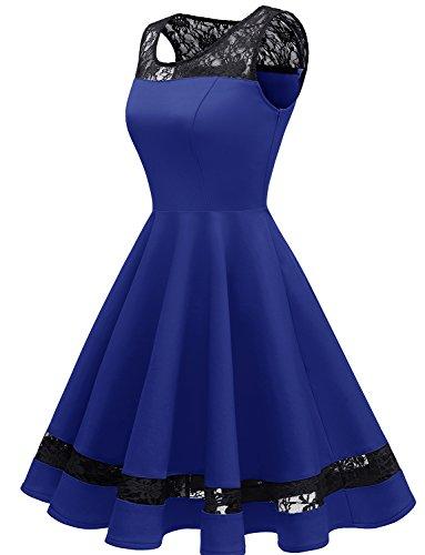 Honor Vestir Royal Cordón Cóctel 2xl Mujeres Dama Sin Las Vendimia Alinear Floral Gardenwed De Mangas Con Blue 1qTwSvC