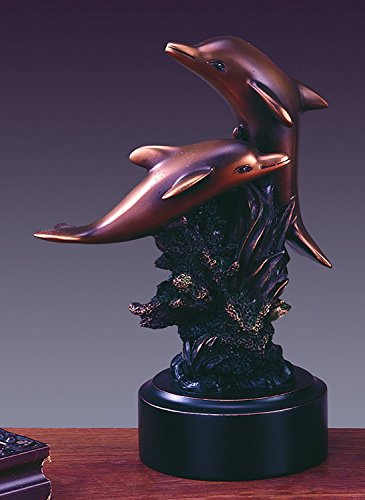 Two Playing Dolphins Statue - Bronze Finish Figurine