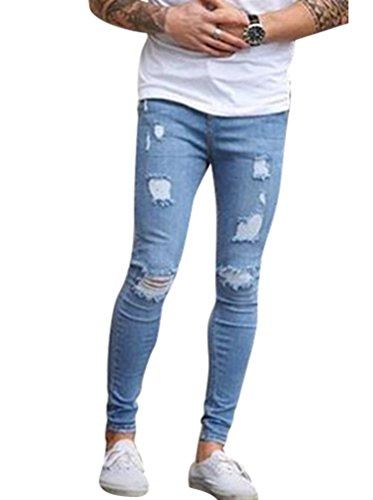 Claro Pantalones Pernera Azul Jeans Vaquero Byqny Fit Elástico Delgado Hombre Ajustados De Skinny Recta Rotos Denim Slim wanC4nBTq