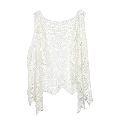 Jastie Open Stitch Cardigan Boho Hippie Butterfly Crochet Vest (White)