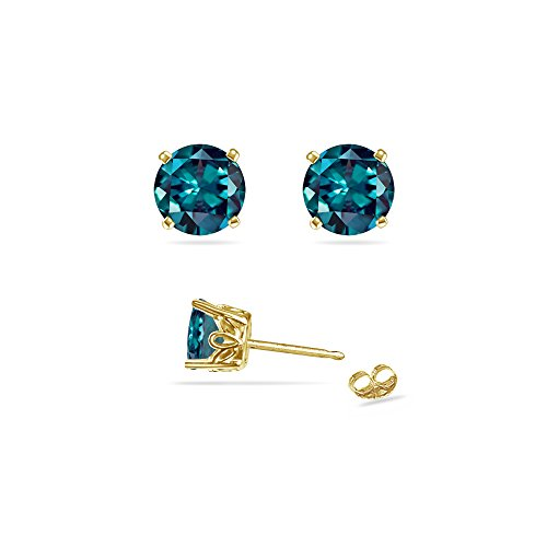 (0.63-0.84 Cts of 4 mm AAA Round Russian Lab Created Alexandrite Scroll Stud Earrings in 14K Yellow Gold)