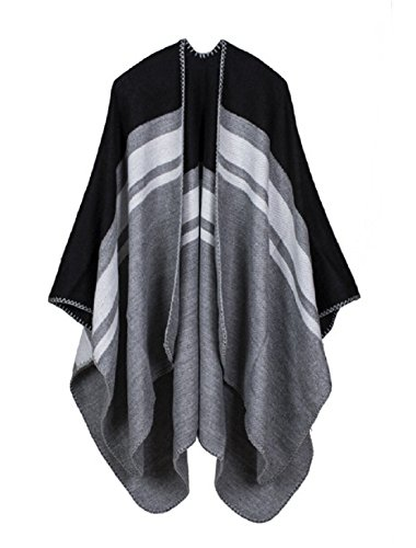 VamJump Women Winter Cashmere Reversible Poncho Cape Shawl Cardigan Coat Black