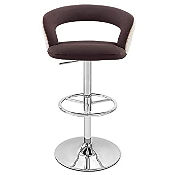 Zuri Furniture Brown Seat with Cream Back Monza Adjustable Height Swivel Armless Bar Stool