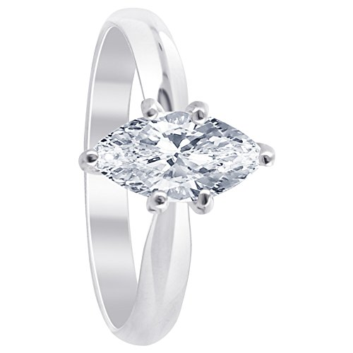 Gem Avenue 925 Sterling Silver Clear Cubic Zirconia Marquise Cut Solitaire Ring, Clear, 6 ()