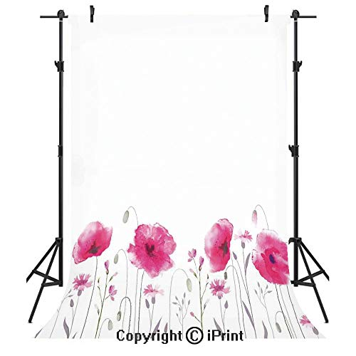 Lake House Decor Photography Backdrops,Mass of Flower Glade with Poppy Petals Summer Garden Field Elements Artwork,Birthday Party Seamless Photo Studio Booth Background Banner 3x5ft,Pink