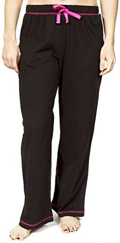 Leisureland Women's Cotton Solid Jersey Knit Pajama Pants Black XL ()