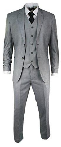 3 Piece Light Fit Slim Suit Party Or Trim Mens Wedding short Stitch Grey Work Office nCqZ0tBxB