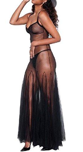 Dress Black Womens Slim Jaycargogo Swing Club Through Fit V Spaghetti Sexy Strap Color Neck Solid See ZHHEw6dqW