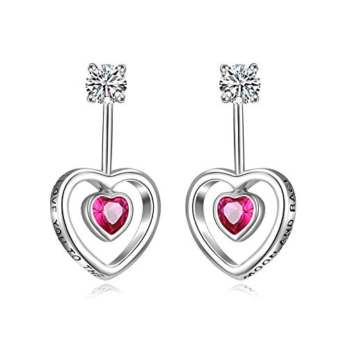 SISGEM 925 Sterling Silver Heart Dangle Earrings 2 in 1 Cubic Zirconia Heart Drop Stud Earrings for Women Girls
