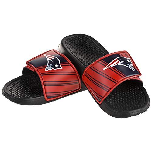 FOCO NFL New England Patriots Men's Legacy Velcro Sport Slide Slippers, Team Color, Medium