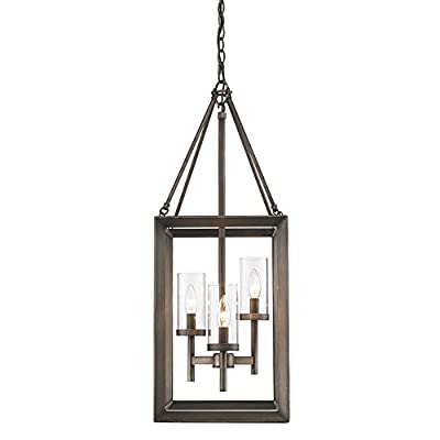 Golden Lighting 2073-3P GMT Pendant with Clear Glass Shades, Gunmetal Bronze Finish