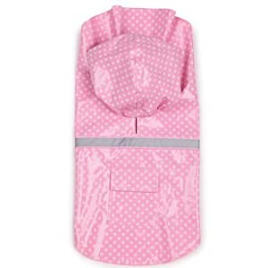 East Side Collection PU and Polyester Polka Dot Dog Rain Jacket, 16-Inch, Medium, Pink